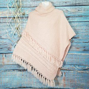 Light Pink Knit Asymmetrical Sweater Poncho